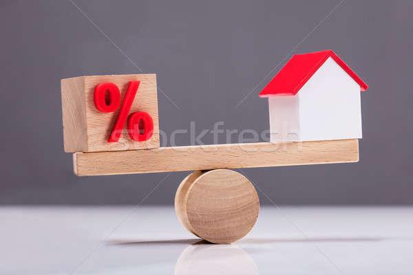Wippe Gleichgewicht Prozentsatz Symbol Haus Stock foto © AndreyPopov