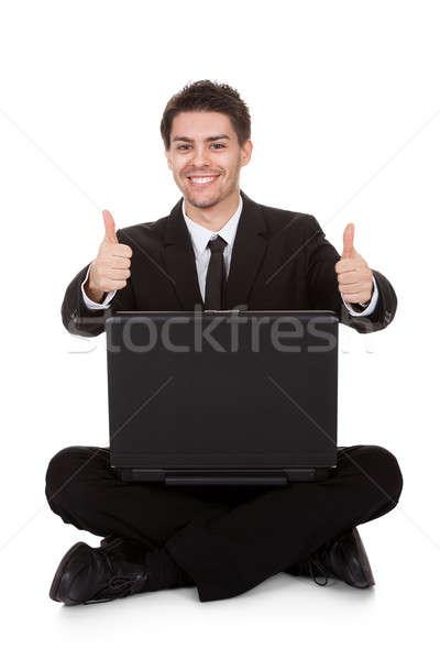 örömteli üzletember ujjongás laptop izolált fehér Stock fotó © AndreyPopov