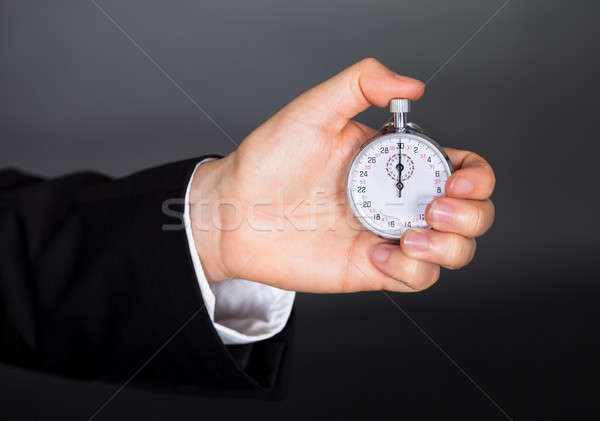 Photo stock: Homme · d'affaires · chronomètre · main · homme · horloge