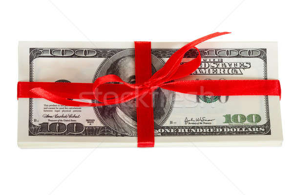 Pack dollars cadeau isolé blanche anniversaire Photo stock © AndreyPopov