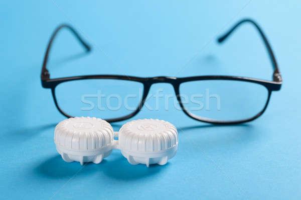 Black Frame Eyeglasses And Lens Case Stock photo © AndreyPopov