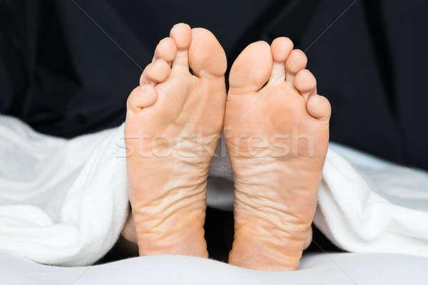 Voet bed voeten deken Stockfoto © AndreyPopov