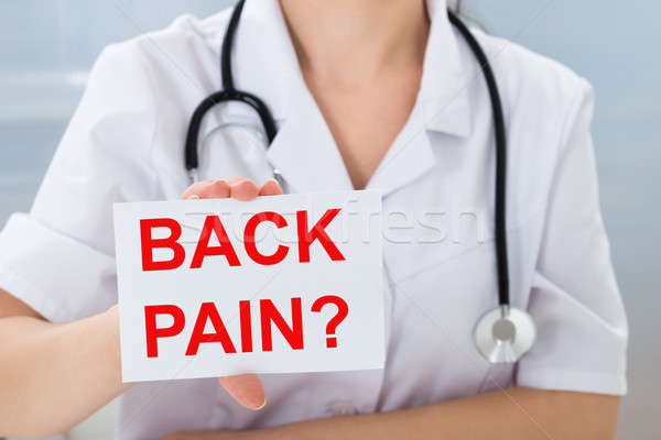 Doctor Holding Placard With Back Pain Text Stock photo © AndreyPopov