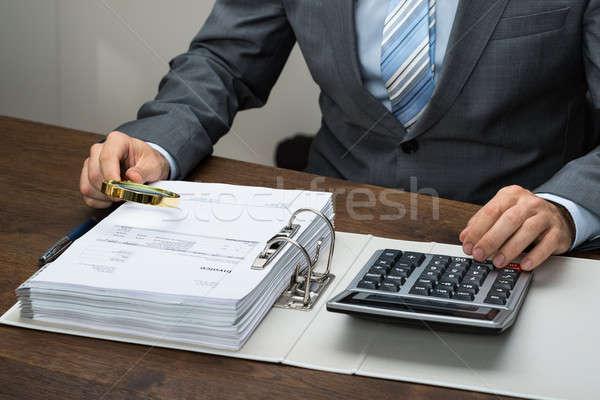 ビジネスマン オフィス クローズアップ 虫眼鏡 ガラス 作業 ストックフォト © AndreyPopov