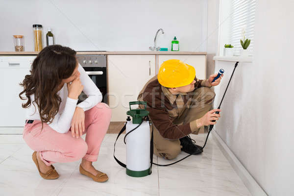 Woman Looking At Worker Spraying Insecticide Under Windowsill Stock photo © AndreyPopov