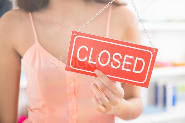 Foto stock: Propietario · cerrado · signo · ropa · tienda