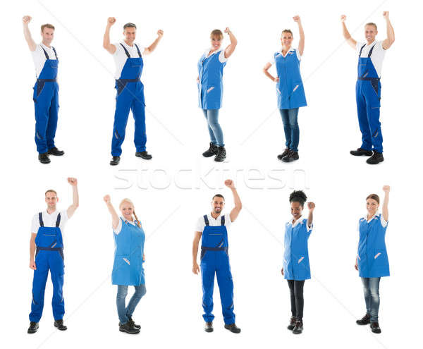 Collage Of Janitors Raising Arms Stock photo © AndreyPopov