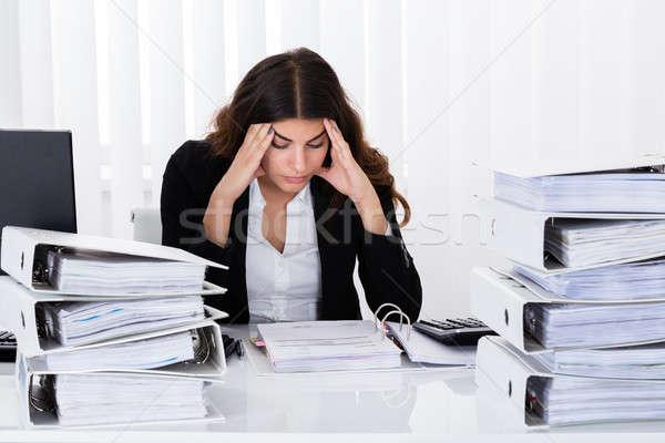 Depresso imprenditrice fattura giovani ufficio lavoro Foto d'archivio © AndreyPopov