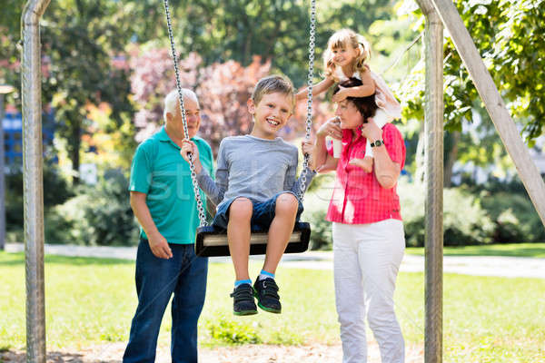 Grandson Enjoying On Swing In The Park Stock photo © AndreyPopov