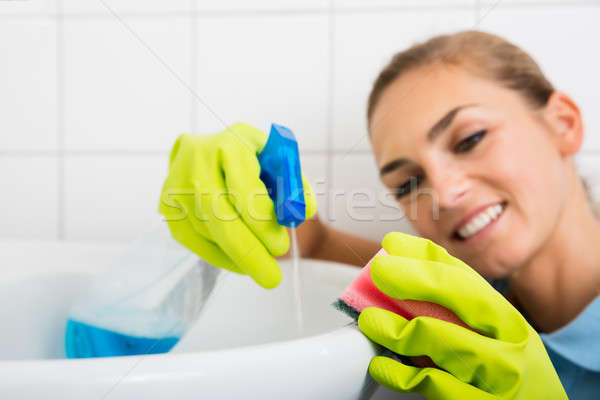 Smiling Woman Cleaning The Basin With Spray Bottle Stock photo © AndreyPopov