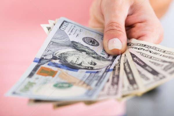 Persona mano dollaro valuta primo piano Foto d'archivio © AndreyPopov