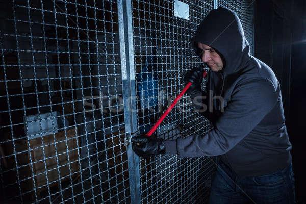 Ladrão quebrar portão metal quarto Foto stock © AndreyPopov