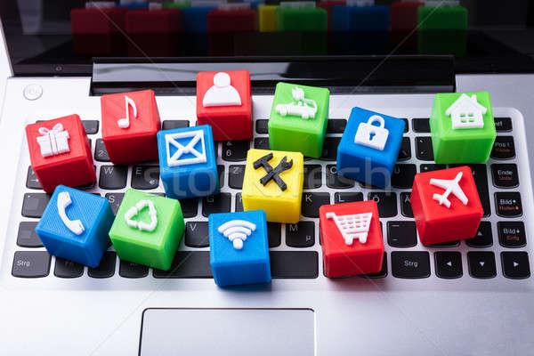 アイコン ブロック ノートパソコン キーパッド 表示 ストックフォト © AndreyPopov