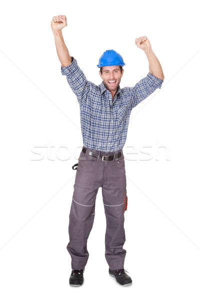 Retrato feliz trabalhador isolado branco construção Foto stock © AndreyPopov