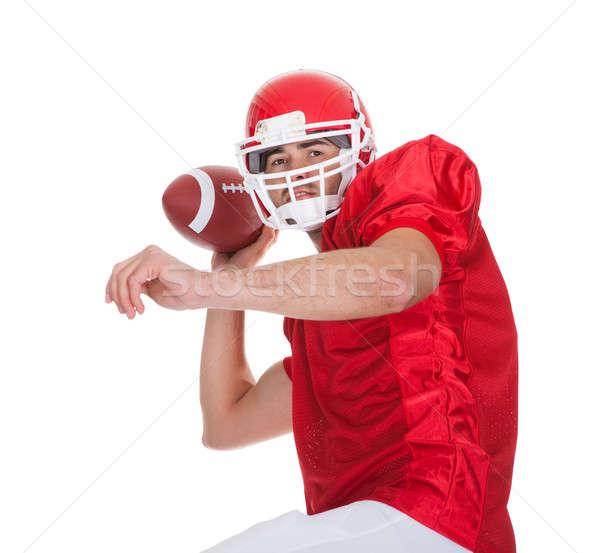 Fußballspieler läuft Ball isoliert weiß Stock foto © AndreyPopov