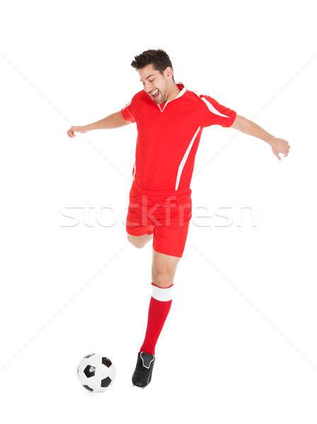 Voetballer voetbal jonge witte Stockfoto © AndreyPopov