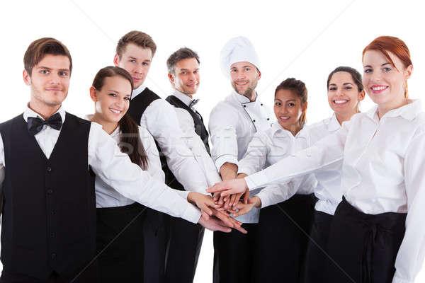 Mãos isolado branco comida reunião feliz Foto stock © AndreyPopov