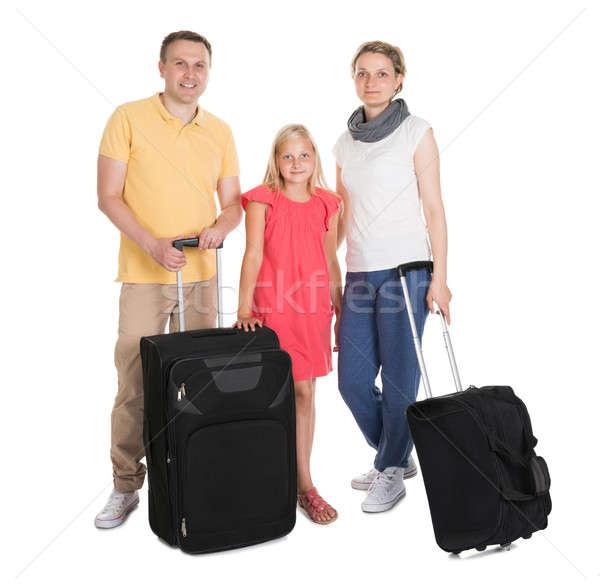 молодые семьи Постоянный Камера изолированный белый Сток-фото © AndreyPopov
