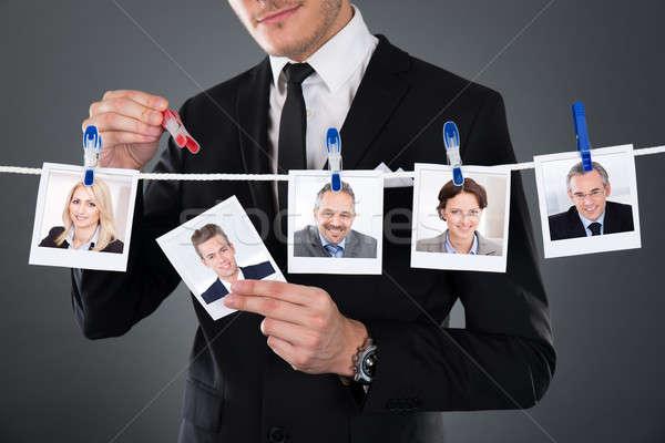 üzletember kiválaszt jelölt ruhaszárító szürke üzlet Stock fotó © AndreyPopov