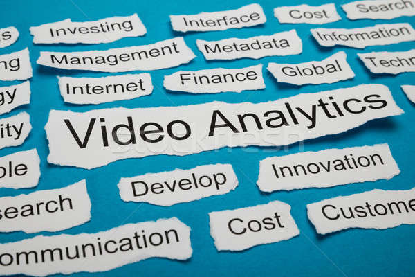 Woord video analytics stuk gescheurd papier papier Stockfoto © AndreyPopov