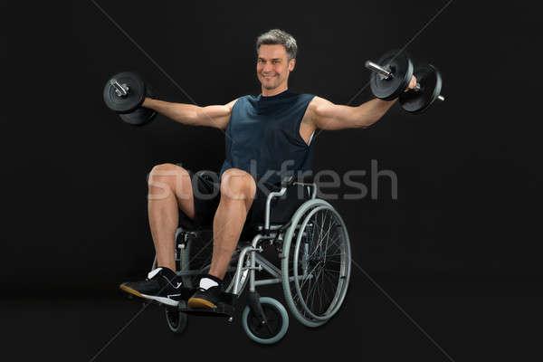 Zdjęcia stock: Człowiek · wózek · uśmiechnięty · upośledzony