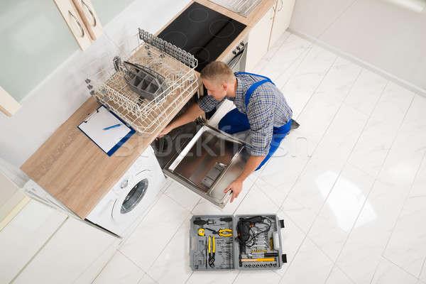 ワーカー ツールボックス 食器洗い機 表示 ストックフォト © AndreyPopov