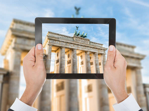 Person Hand Photographing Brandenburg Gate Stock photo © AndreyPopov