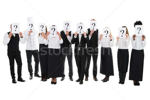 étterem személyzet rejtőzködik arcok kérdőjel feliratok Stock fotó © AndreyPopov
