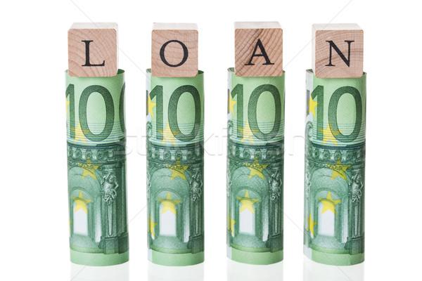 Pożyczka bloków euro zauważa biały Zdjęcia stock © AndreyPopov
