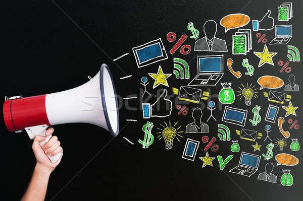ストックフォト: メガホン · デジタル · マーケティング · 手 · 異なる