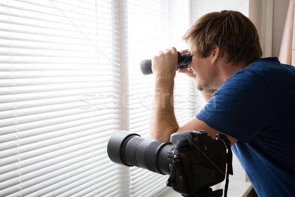 человека шпионаж бинокль детектив глядя солнце Сток-фото © AndreyPopov