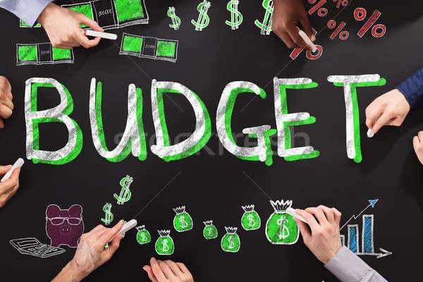 Bütçe finanse insanlar çizim tahta siyah Stok fotoğraf © AndreyPopov