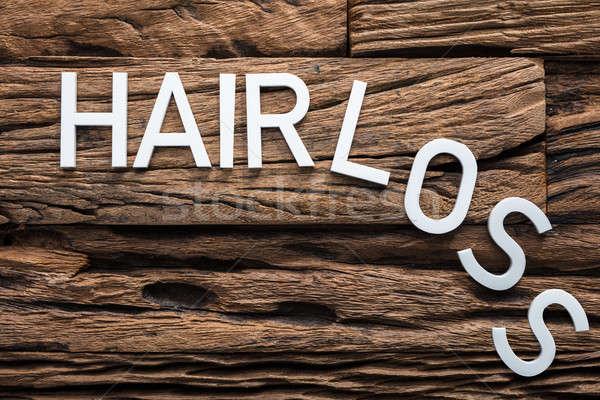 белые волосы потеря текста древесины волос Сток-фото © AndreyPopov
