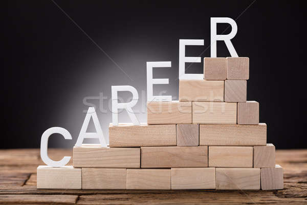 Career Text On Steps Made Of Wooden Blocks Stock photo © AndreyPopov