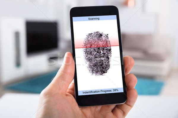 Person With Mobile Phone Scanning Fingerprint Stock photo © AndreyPopov