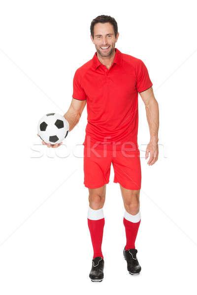 Portret piłkarz odizolowany biały piłka nożna tle Zdjęcia stock © AndreyPopov