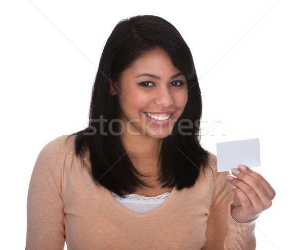 Young Woman Showing Visiting Card Stock photo © AndreyPopov