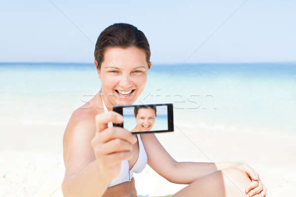 Stockfoto: Vrouw · zelfportret · strand · gelukkig · jonge · vrouw
