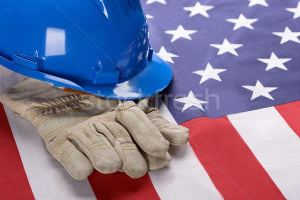 Munkavédelmi sisak kesztyű amerikai zászló közelkép kék munka Stock fotó © AndreyPopov