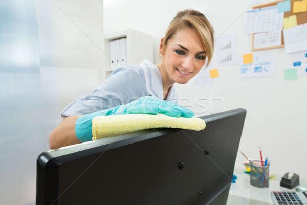 小さな メイド 洗浄 コンピュータ 肖像 幸せ ストックフォト © AndreyPopov