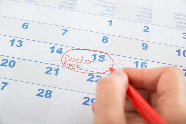 Persona mano médico nombramiento calendario salud Foto stock © AndreyPopov