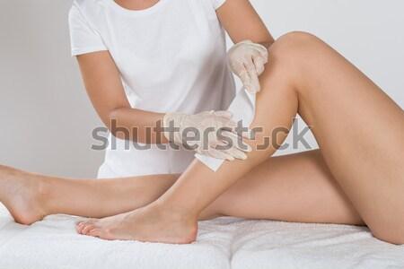 Depilação com cera em salão corpo cabelo cama Foto stock © AndreyPopov