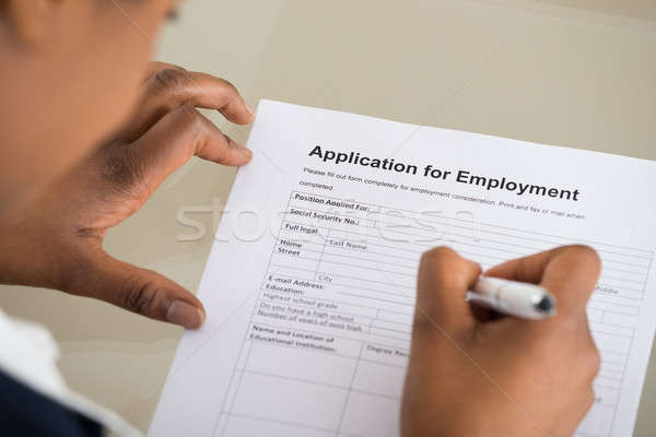 Woman Filling Employment Form Stock photo © AndreyPopov
