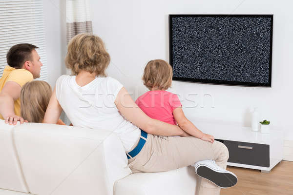 Family Watching Television Showing No Signal Stock photo © AndreyPopov