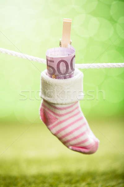 ребенка носок доллара подвесной веревку Сток-фото © AndreyPopov