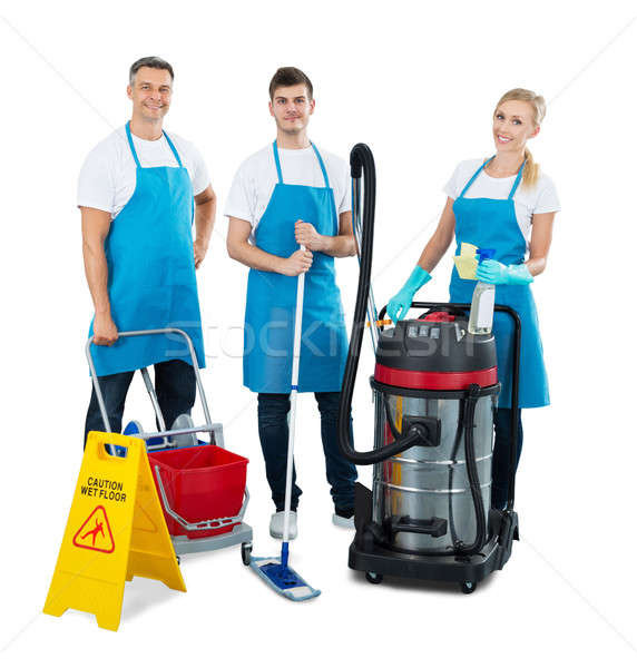 Group Of Janitors Standing On White Background Stock photo © AndreyPopov