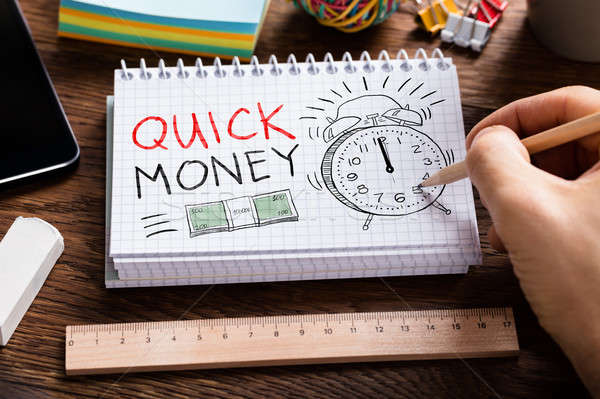 Quick Money Words In Notepad Stock photo © AndreyPopov