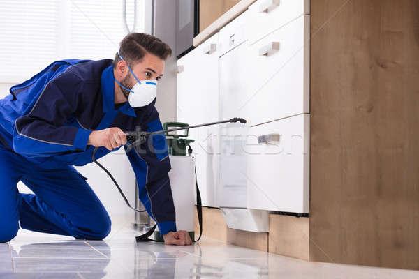 Man Spraying Pesticide In Kitchen Stock photo © AndreyPopov