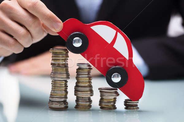 Stockfoto: Zakenman · Rood · auto · munten