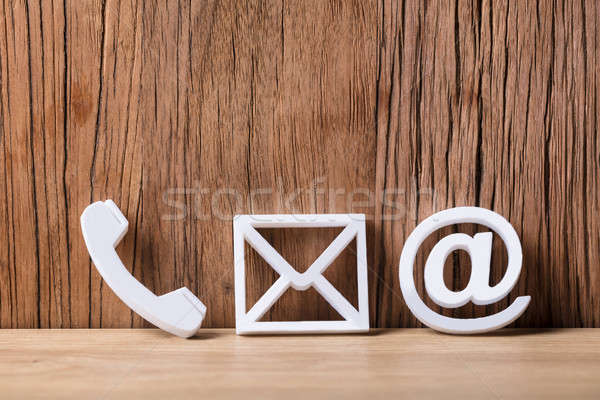 Close-up Of  Phone, Email and Post Icons Stock photo © AndreyPopov